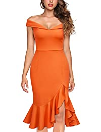 Womens Off Shoulder Elegant Slim Style Evening Party Dress