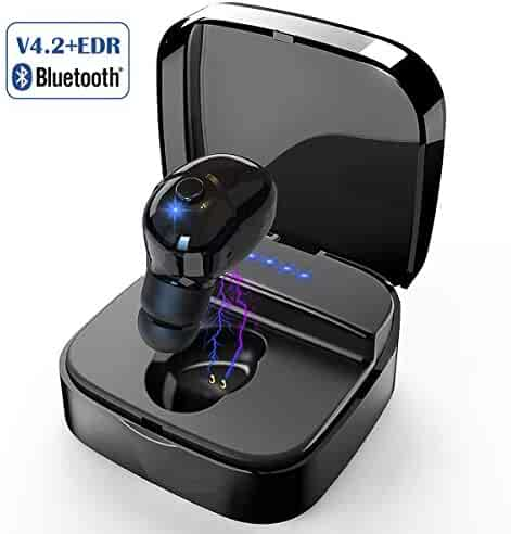 Mini Bluetooth Earbud, Smallest V4.2 Wireless Headphone with 8 Hours Playtime Invisible Headset Car earpiece with HD Mic & Charging Case 8 Times for iPhone and Android Smart Phones(One Pcs) (Black)