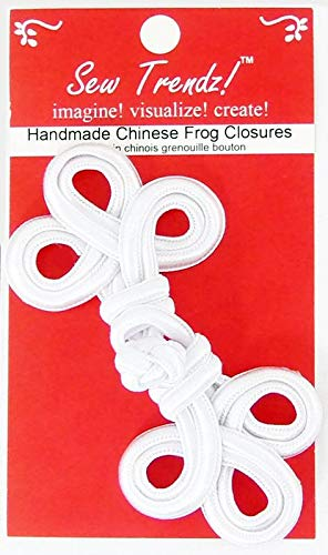 (Sew Trendz-Vision Trims Handmade Chinese Frogs Button Closures- White -4.5