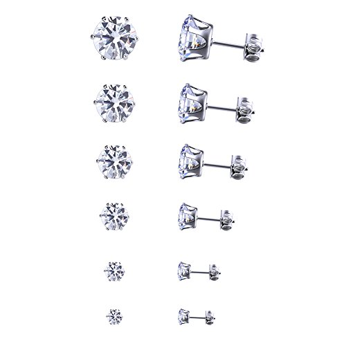 Jusnova Stainless Steel Womens Stud Earrings Inlaid Cubic Zirconia 6-8 Pairs Set (Earstud Post)