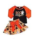 Suma-ma Baby Girls 2 Piece Halloween Set -Patchwork Tops Pumpkin Cartoon Skirt - Bowknot Sets(12M-4TM)