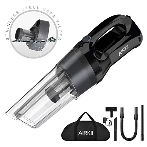AIRKII Cordless Handheld Vacuum Cleaner,80W Powerful 40 Mins Runtime Stainless Steel HEPA Filter Wet & Dry Cyclone Suction Rechargeable 4000mAh Lithium-ion Hand Vacuum Pet Hair Car Home Use HV-05