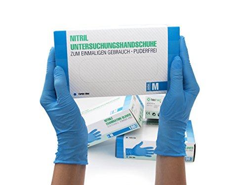 Guantes de nitrilo Caja de 100 piezas (M, azul) sin polvo guantes desechables, sin látex guantes de examen, no estériles… 2