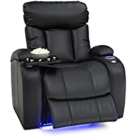 Seatcraft Orleans Leather Gel Power Recliner with In-Arm Storage, and USB Charging, Black