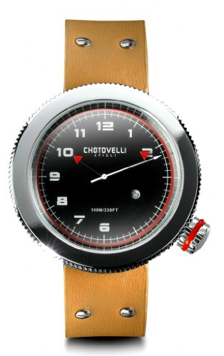 Chotovelli Gauge Men's Watch Alfa Romeo dial Tan leather Strap 40.02