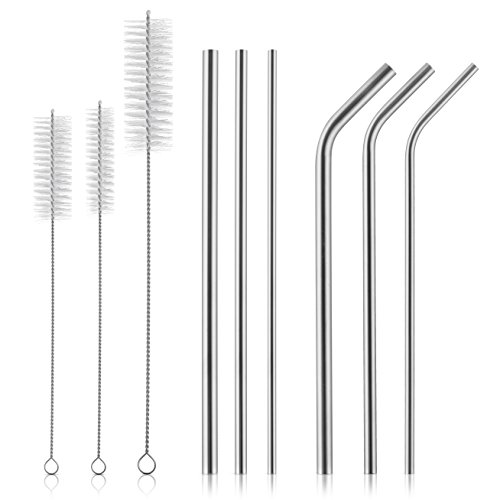 Stainless Steel Drinking Straws - Extra Long - For YETI Cup Ozark RTIC 30 OzTumbler and 20 oz- 9 Piece set - 6 Straws 10.5 inch long - 6mm, 8mm, & 10mm Wide - 2 Cleaning brush + Scrub Brush By Ziloes