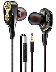 Brussel Moving Coil Iron In Ear słuchawki z kontrolą głośności mikrofonu, słuchawki przewodowe douszne stereo dźwięk zestaw słuchawkowy uniwersalne dopasowanie do urządzeń 3,5 mm czarny