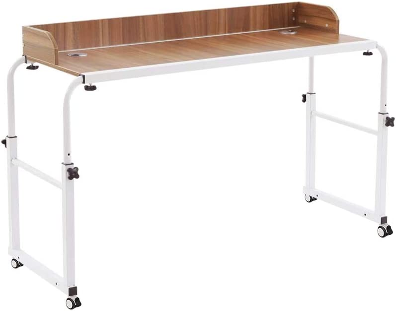 NOVII Height Adjustable Over Bed Table Laptop Cart with Wheels Computer Table Student Study Rolling Table Food Tray Desk (Oak Colour)