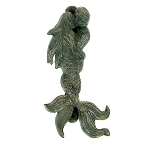 Cast Iron Green and Gold Mermaids in Lovers Embrace Door Knocker with Screws ()
