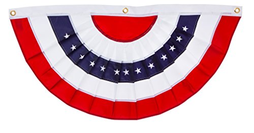 Applique Stripes Flag (Patriotic Bunting 2-Sided Pleated Flag 58