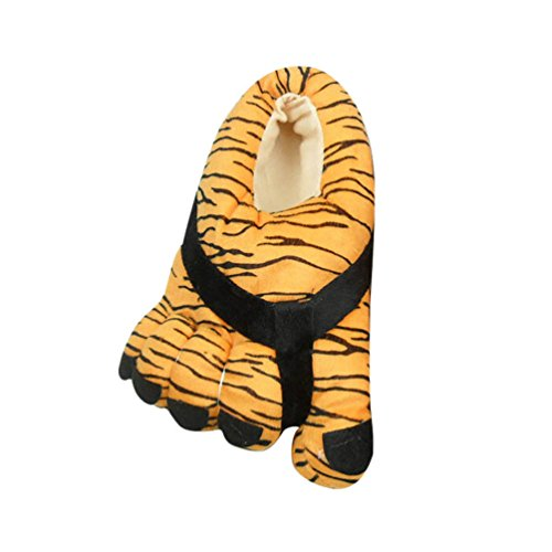 YOUJIA Damen Witzige Große Füße Toes Hausschuhe Pantoffeln Warme Winter Plüsch Hausschuhe Kuschelige Weiche Bequeme Winterschuhe Größe:34-38 Tiger