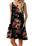 CAIYING Women Sleeveless Pocket Floral Printed Summer Casual Swing Midi Dress