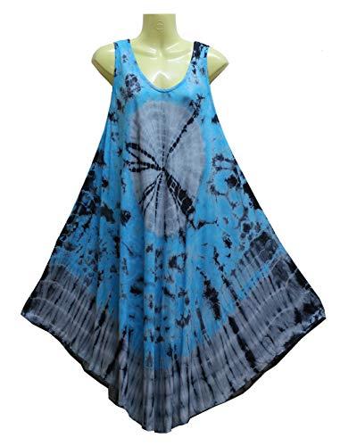 ATM A-Line Cover Up Handmade Tie Dye Short Dress Plus Size ()