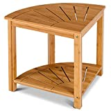 16.5 Corner Bamboo Stool Spa Seat Shower Bench Organizer w/Storage Shelf with Ebook
