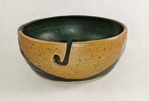 (Aunt Chris' Pottery - Yarn Bowl - Green And Tan Color Glazed - Hand Made Clay - With Hole Shaped Like Hook To Guide The Yarn Through - Great Gift For Someone Who Knits Or Sews)