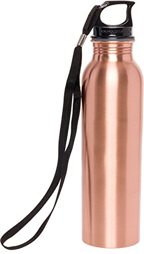 Mindful Design Pure Copper Polished Water Bottle - Leak-Proof Solid Copper Vessel for Ayurvedic Health Benefits (25 oz)