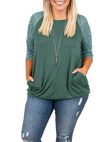 Womens Tops Plus Size Raglan Shirt Short Sleeve 3/4 Sleeve Striped Crew Neck Tshirt Tunic with Pockets ()