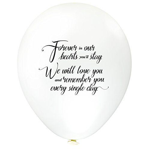 Remembrance Bereavement Memorial Funeral 60pk White Biodegradable Helium Quality Balloon Releases - Personalised
