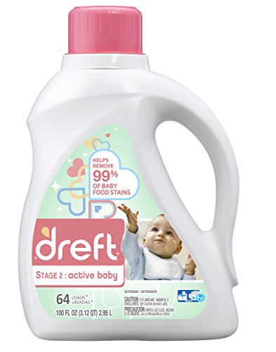 Dreft Stage 2: Active Hypoallergenic Liquid Baby Laundry Detergent for Baby, Newborn, or Infant, 100 Ounces (Packaging May Vary)