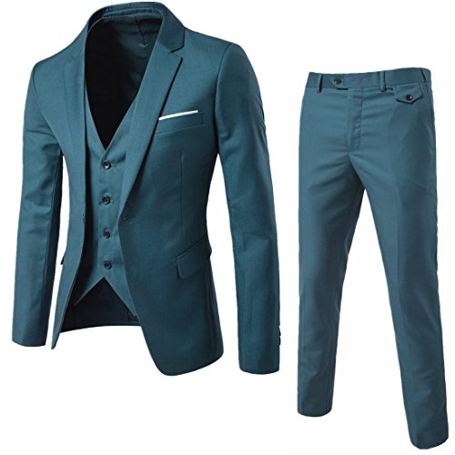 WULFUL Men's Suit Slim Fit One Button 3-Piece Suit Blazer Dress Business Wedding Party Jacket Vest & Pants Aquamarine ()