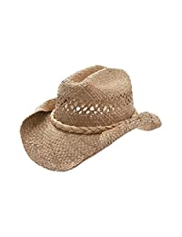 cc42358f52e79 MG Women s Straw Woven Cowboy Hat (Natural)