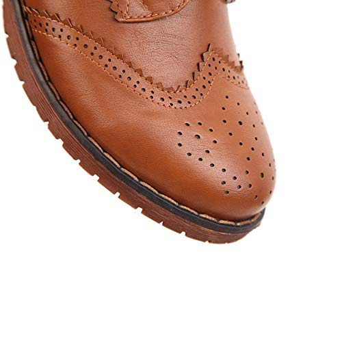 Oxfords Vintage Yu Flat Lace Women's Brown up Brogues Oxford Shoes Leather Wingtip Li Perforated qxB86z