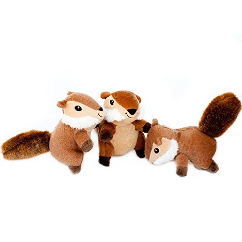ZippyPaws 3-Pack Squeaky Replacement Burrow Toys for Dogs, X-Large, Chipmunks