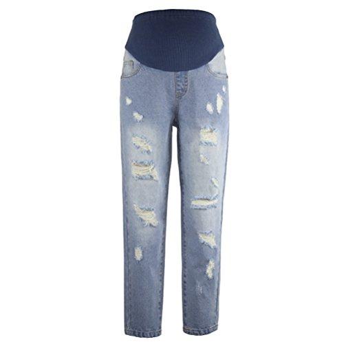 頑丈終点多用途Zhuhaitf スマートなデザイン Comfort Slim Care Belly Denim Jeans Hole Pants Trousers Special for 妊婦の Maternity Pregnancy