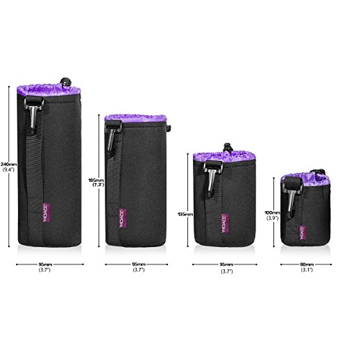 Camera Lens Case (4 Pack),Lens Pouch Set Thick Protective Neoprene Waterproof Lens Bags with Drawstring for Canon,Nikon,Pentax,Sony,Olympus,etc.