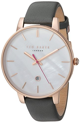 Ted Baker Women's 'Kate' Quartz Stainless Steel and Leather Casual Watch, Color Grey (Model: TE50310001)