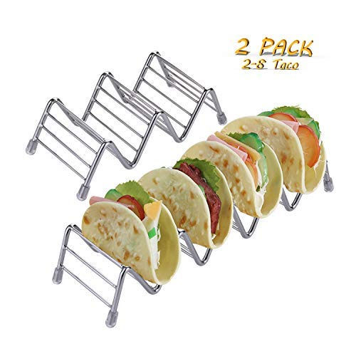 (BeuFresh Premium Quality Stainless Steel Taco Holder Stand, Stylish Taco Stand Stainless Steel Rustproof Taco Rack Hold, Hold 2-8 Hard or Soft Shell Tacos Oven Safe for Baking or Reheating()