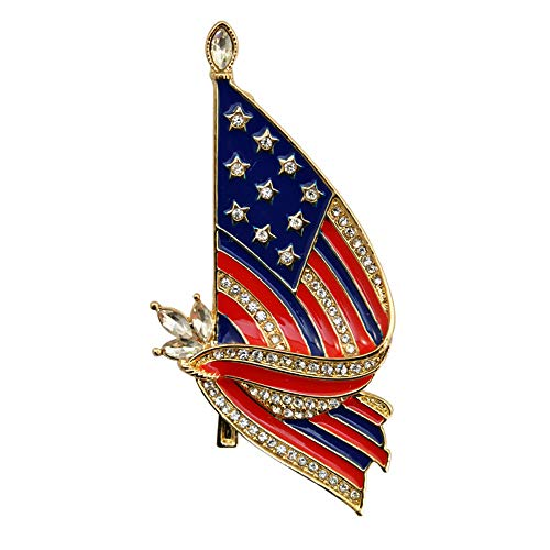 (MIXIA Vintage Big Size American USA Flag Brooch Badges Gold Stars Flag Brooches Pin Crystal Lapel Pins USA Patriotic Pin Jewelry for Women Men (Flag))