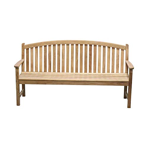 Titan Teak Bow-Back Bench for Porches, Decks, and Patios, Outdoor Furniture | 6' (Garden Pallets With Furniture)