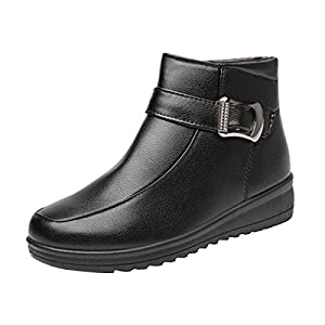 Dear Time Buckle Straps Women Snow Ankle Boots Platform Zipper Winter Booties by Black US 8.5