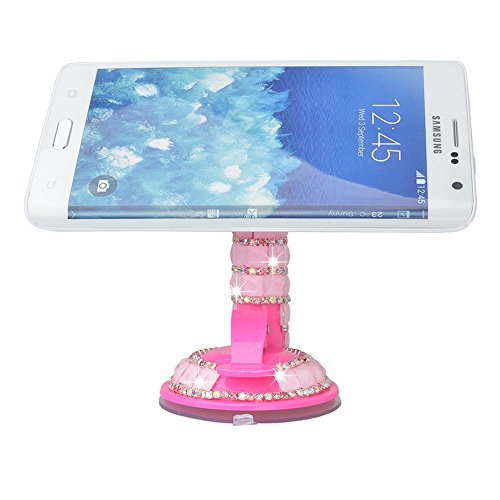 KAKA(tm Bling Handmade Crystal Rhinestones Portable Rotating Suction Cup Mini Desk Car Mount Clip Stand Holder for Smartphones Mobile Phones - (Iphone 3g Rhinestone)