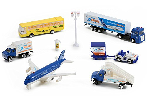 (Airlines International Airplane Diecast Airport Playset, 13-piece (Assorted Styles))