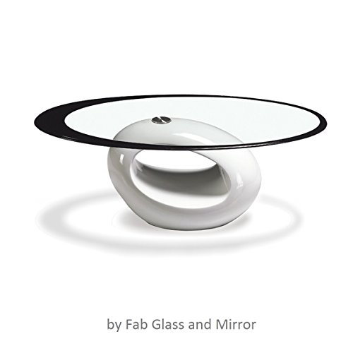 - Fab Glass and Mirror Stylish Coffee Table, Oval, White