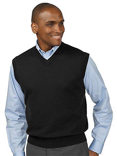 Paul Fredrick Men's Silk, Cotton \ Cashmere V-Neck Vest Black (Silk Sweater Vest)