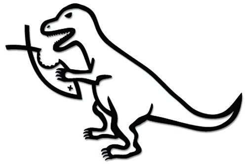 T Rex Dinosaur Eats Jesus Fish Vinyl Decal Sticker For Vehicle Car Truck Window Bumper Wall Decor - [6 inch/15 cm Wide] - Matte BLACK Color
