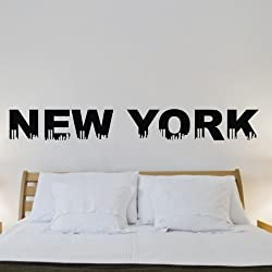 New York City Skyline Graphic Saying Lettering Decal Quote Sticker Home Decal Mural Art Black