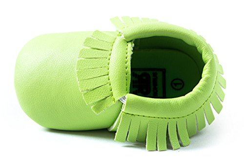Happy Cherry Zapatos con Borlas Mocasines de PU Piel Suaves Zapatitos Primeros Pasos Calzado Infantil para 9-12 Meses Bebés Niñas Niños Baby Prewalker Shoes Longitud 13cm Talla EU 20-21 Color Caqui Verde