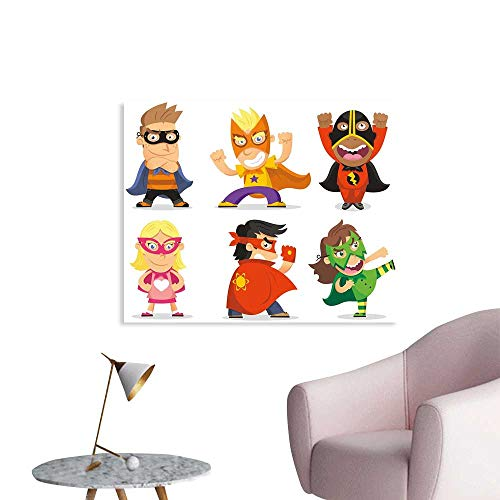 J Chief Sky Superhero Wall Sticker Decals Children Dressed as Superheroes Kids Playroom Girls Boys Nursery Babyish Picture Poster Home Decoration W36 xL24 -