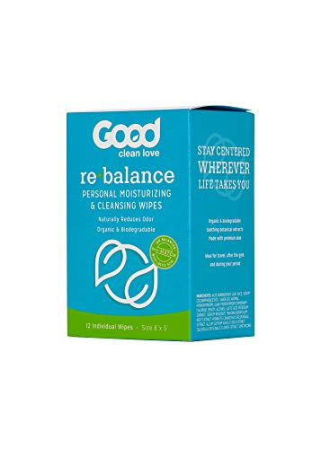 Good Clean Love Rebalance Personal Moisturizing & Cleansing Wipes, Naturally Reduces Odor & Supports Vaginal Health, pH…