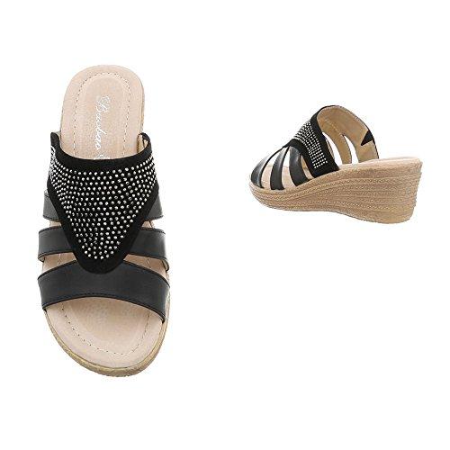 S280 Compensé Sandales Ital Mules Design Noir Chaussures Femme 0w7qxazH