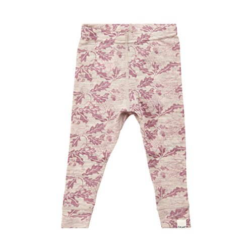 100% Merino Wool Baby Pants- Pink Fall Leaves/Pale Mauve (12-18 Months) (18-24 Months, Pale Mauve - Pink)