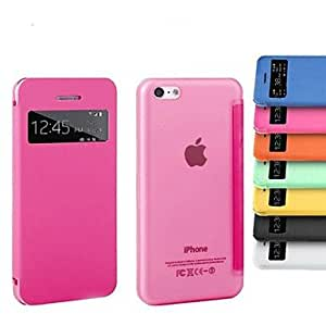 PEACH Screen Touch Smart PU Leather Case for iPhone 5C (Assorted Colors) , Black