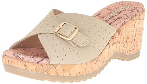 Skechers Cali Women's Bohemias Wedge Sandal,Taupe,7 M US Embossed Leather Wedge Sandal