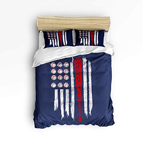 MOBEITI Soft Comfort Duvet Cover Set Bed Sets for Kids,The Flag of The U.S.A Baseball Pattern Bedding Sets,Include 1 Comforter Cover with 2 Pillow Cases Full Size