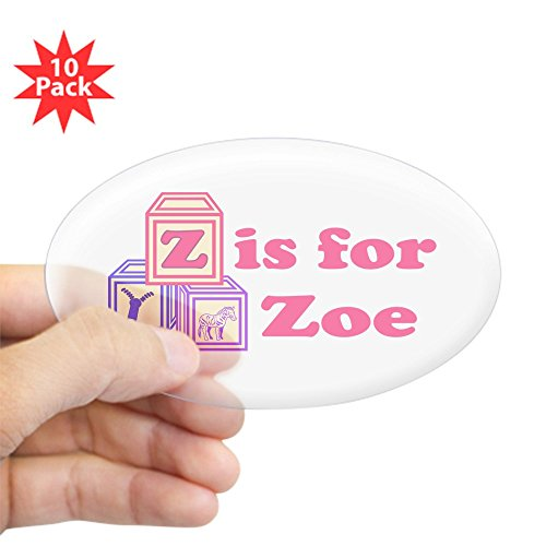 CafePress - Baby Blocks Zoe - Oval Sticker (10-pack), Bumper Sticker, Car Decal, Euro Oval (Zoe Block)