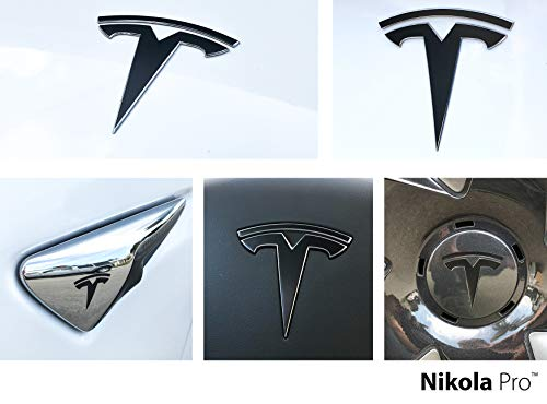 Logo Decal Black - Nikola Pro Tesla Model 3 Logo Decal Wrap Kit (Satin Black)